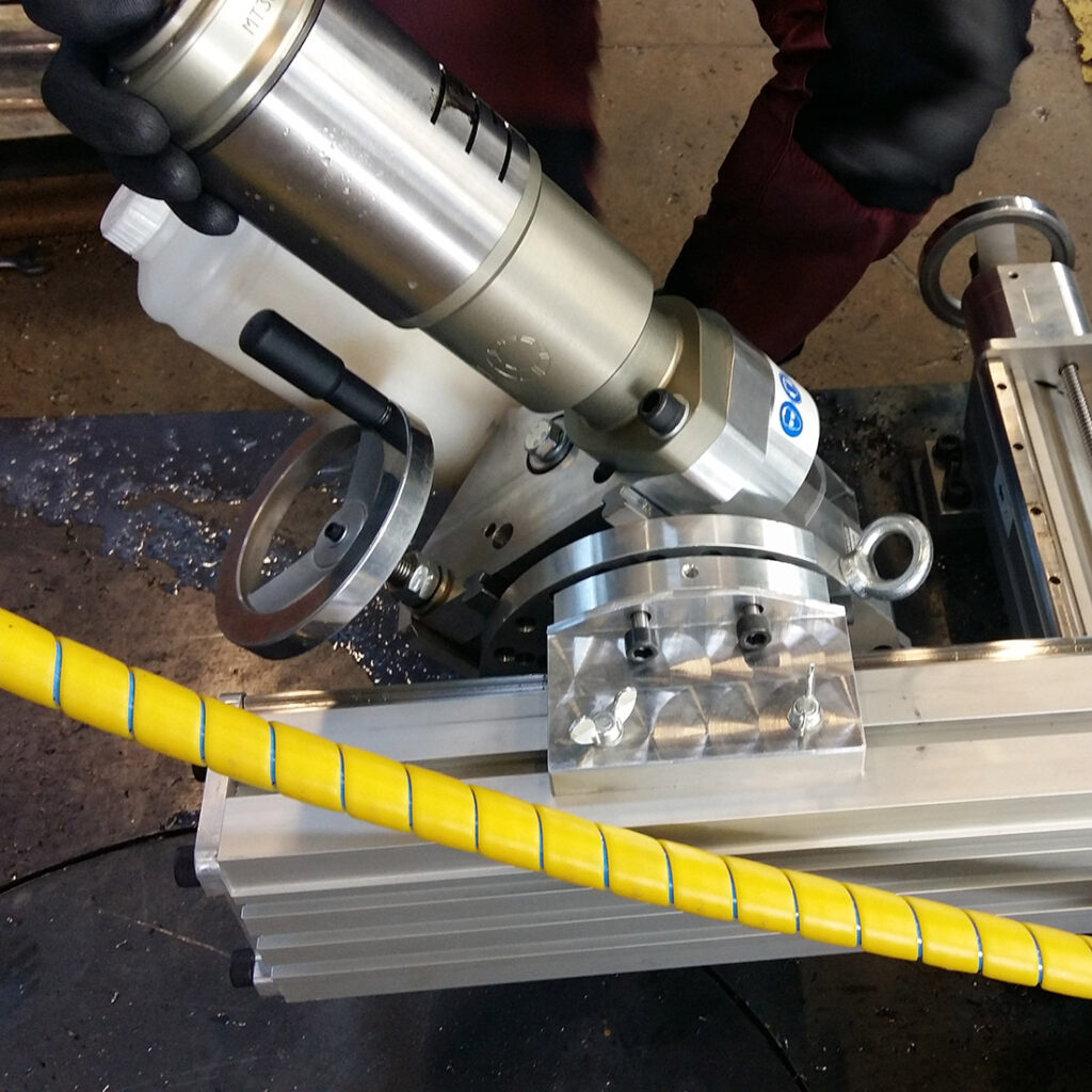 Z-axis can be rotated +/- 45 degrs on the portable milling machine