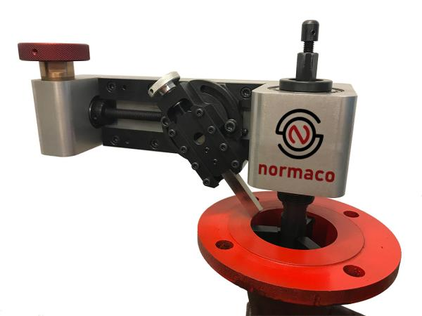 Normaco Manual Facer mounted on a red flange